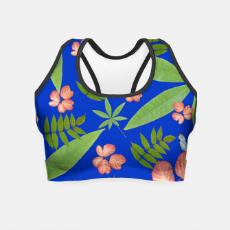 Miniatur Leaves on Blue Crop Top, Live Heroes