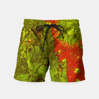 Thumbnail image of Sunflower green & Red Sky Swim Shorts, Live Heroes