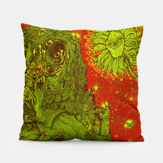 Thumbnail image of Sunflower green & Red Sky Pillow, Live Heroes