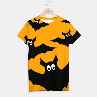 Thumbnail image of Cool cute Flying bats Halloween black orange T-shirt, Live Heroes