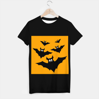 Thumbnail image of Cool cute Flying bats Halloween black orange T-shirt regular, Live Heroes