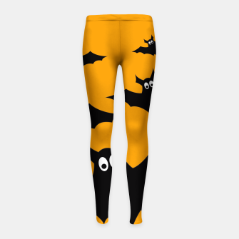 Thumbnail image of Cool cute Flying bats Halloween black orange Girl's Leggings, Live Heroes