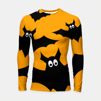 Thumbnail image of Cool cute Flying bats Halloween black orange Longsleeve Rashguard , Live Heroes
