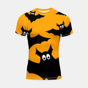 Thumbnail image of Cool cute Flying bats Halloween black orange Shortsleeve Rashguard, Live Heroes