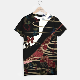 Miniatur Japanesque flower and butterfly black red T-shirt, Live Heroes