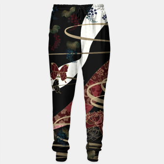 Miniature de image de Japanesque flower and butterfly black red Sweatpants, Live Heroes