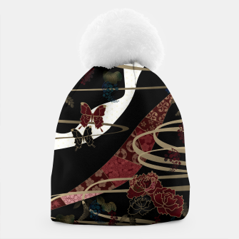 Miniatur Japanesque flower and butterfly black red Beanie, Live Heroes