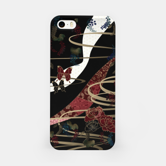 Miniatur Japanesque flower and butterfly black red iPhone Case, Live Heroes