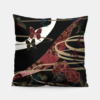 Miniatur Japanesque flower and butterfly black red Pillow, Live Heroes