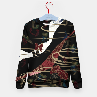 Miniatur Japanesque flower and butterfly black red Kid's Sweater, Live Heroes
