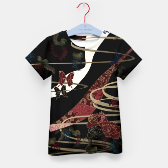 Miniatur Japanesque flower and butterfly black red Kid's T-shirt, Live Heroes