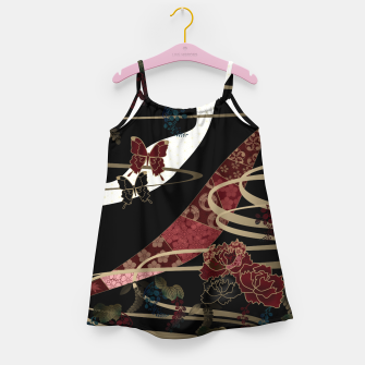 Miniatur Japanesque flower and butterfly black red Girl's Dress, Live Heroes