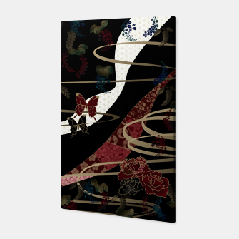 Miniatur Japanesque flower and butterfly black red Canvas, Live Heroes