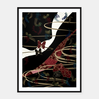 Miniatur Japanesque flower and butterfly black red Framed poster, Live Heroes