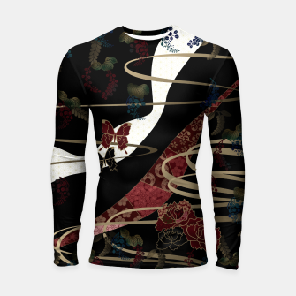 Miniatur Japanesque flower and butterfly black red Longsleeve Rashguard , Live Heroes