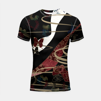 Thumbnail image of Japanesque flower and butterfly black red Shortsleeve Rashguard, Live Heroes