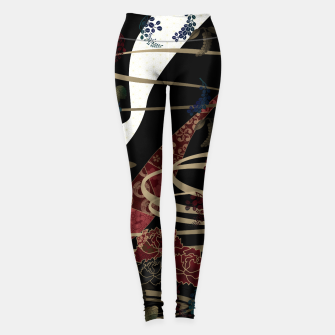 Miniatur Japanesque flower and butterfly black red Leggings, Live Heroes