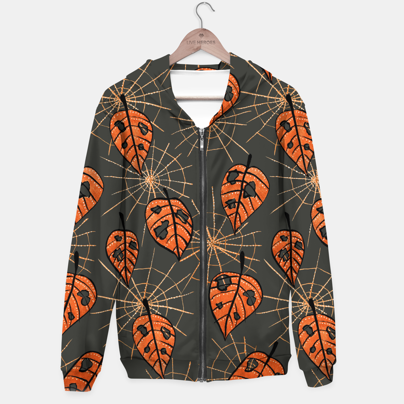 Image of Autumn Leaves With Holes And Spiderwebs Hoodie - Live Heroes