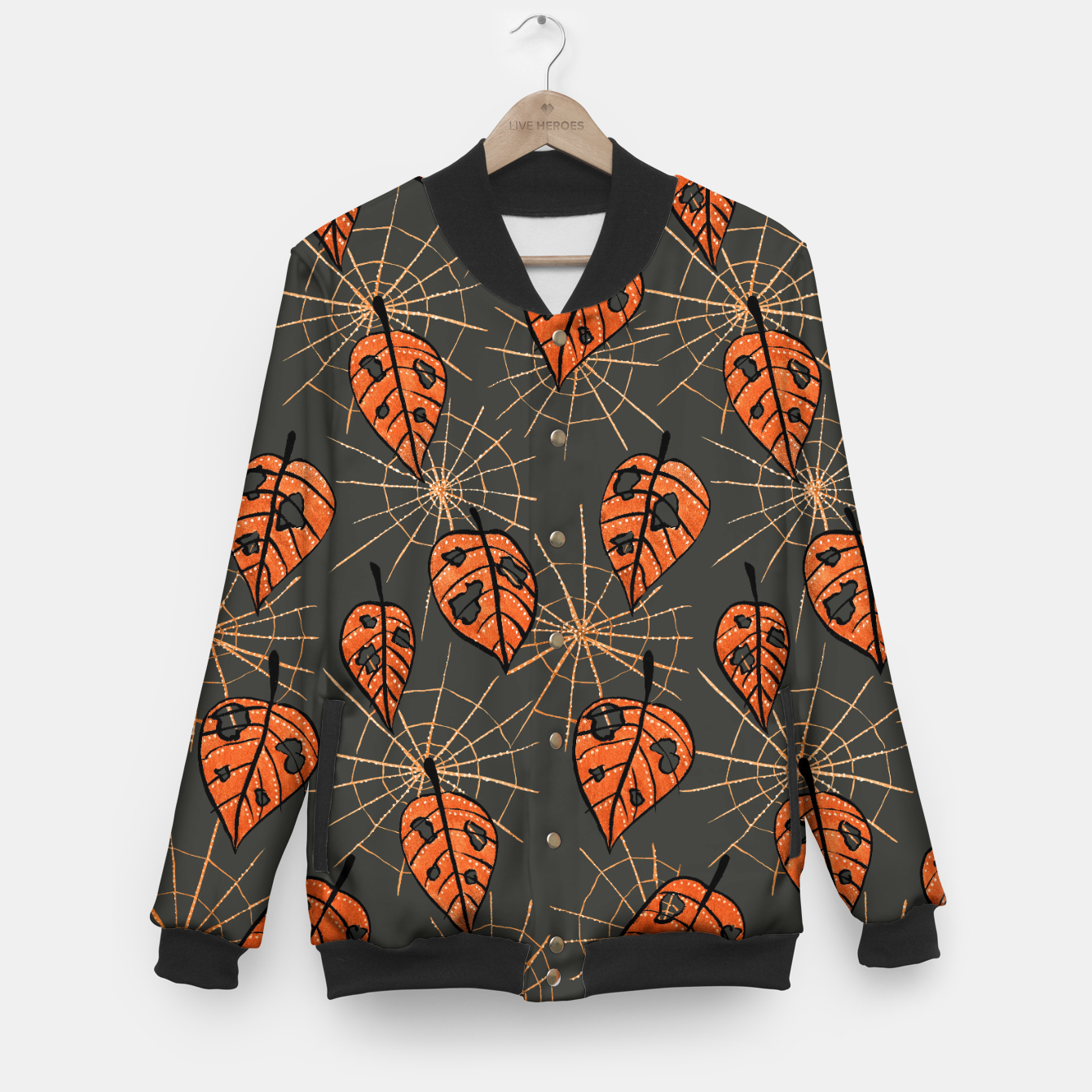Image of Autumn Leaves With Holes And Spiderwebs Baseball Jacket - Live Heroes