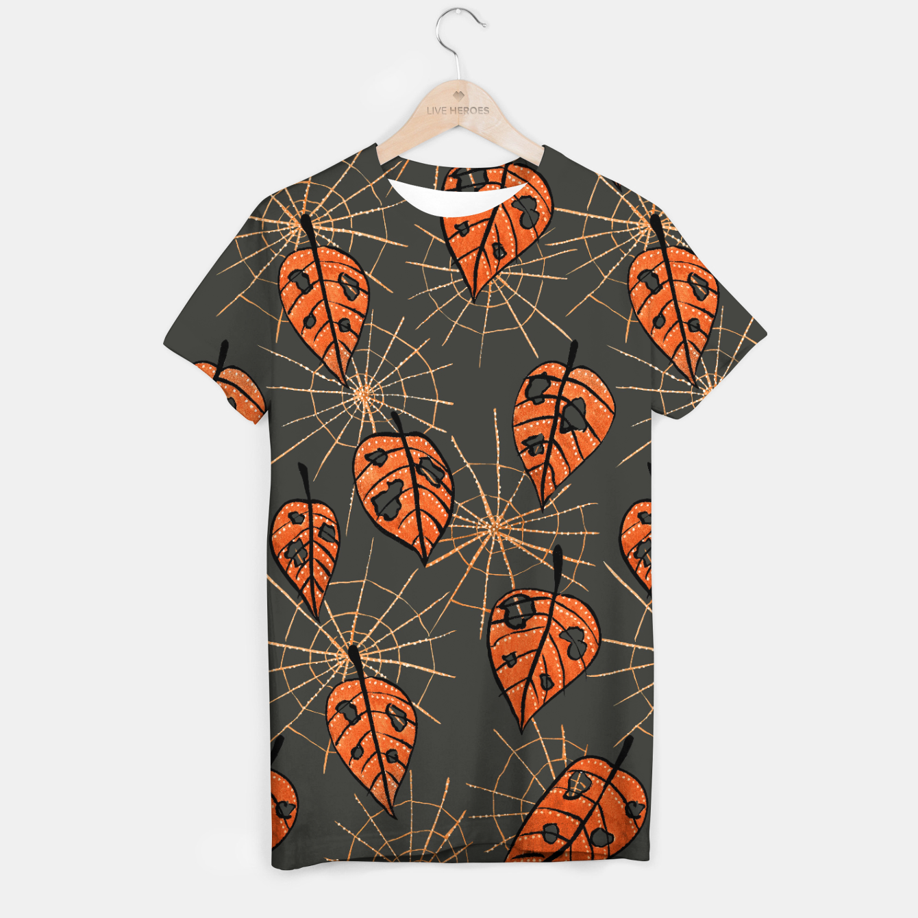 Image of Autumn Leaves With Holes And Spiderwebs T-shirt - Live Heroes