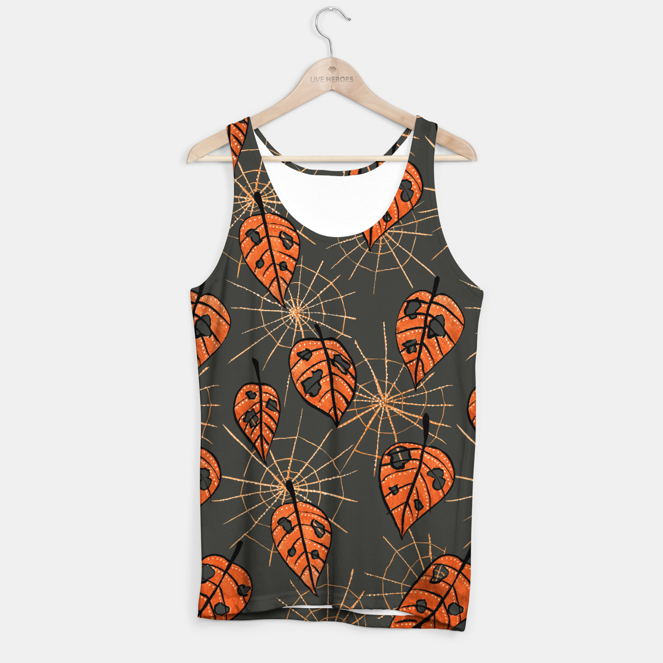 Image of Autumn Leaves With Holes And Spiderwebs Tank Top - Live Heroes