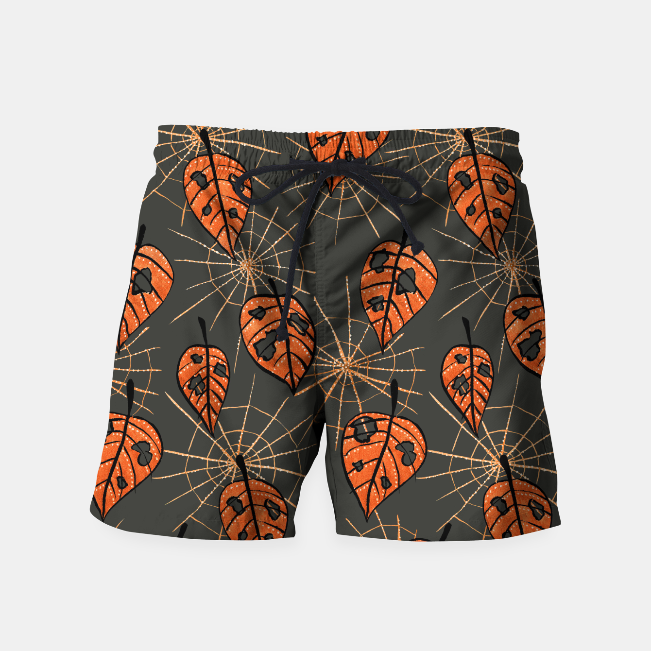 Image of Autumn Leaves With Holes And Spiderwebs Swim Shorts - Live Heroes