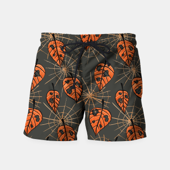 Autumn Leaves With Holes And Spiderwebs Swim Shorts thumbnail image