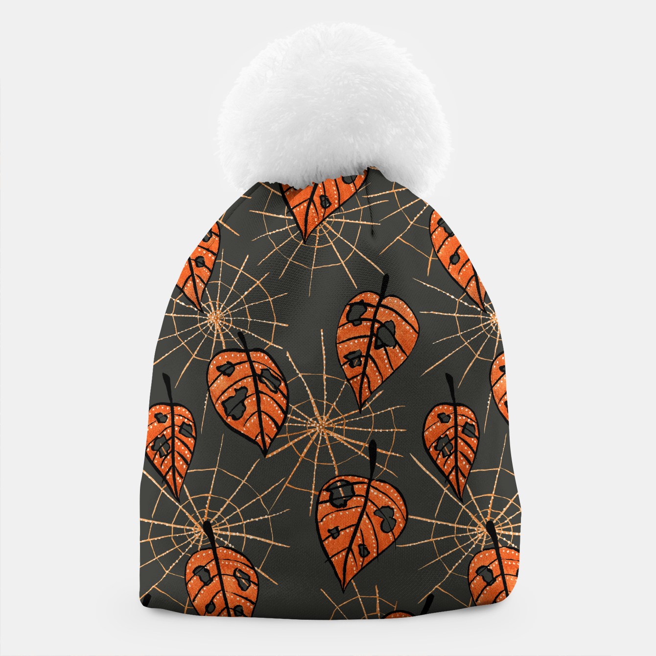 Image of Autumn Leaves With Holes And Spiderwebs Beanie - Live Heroes
