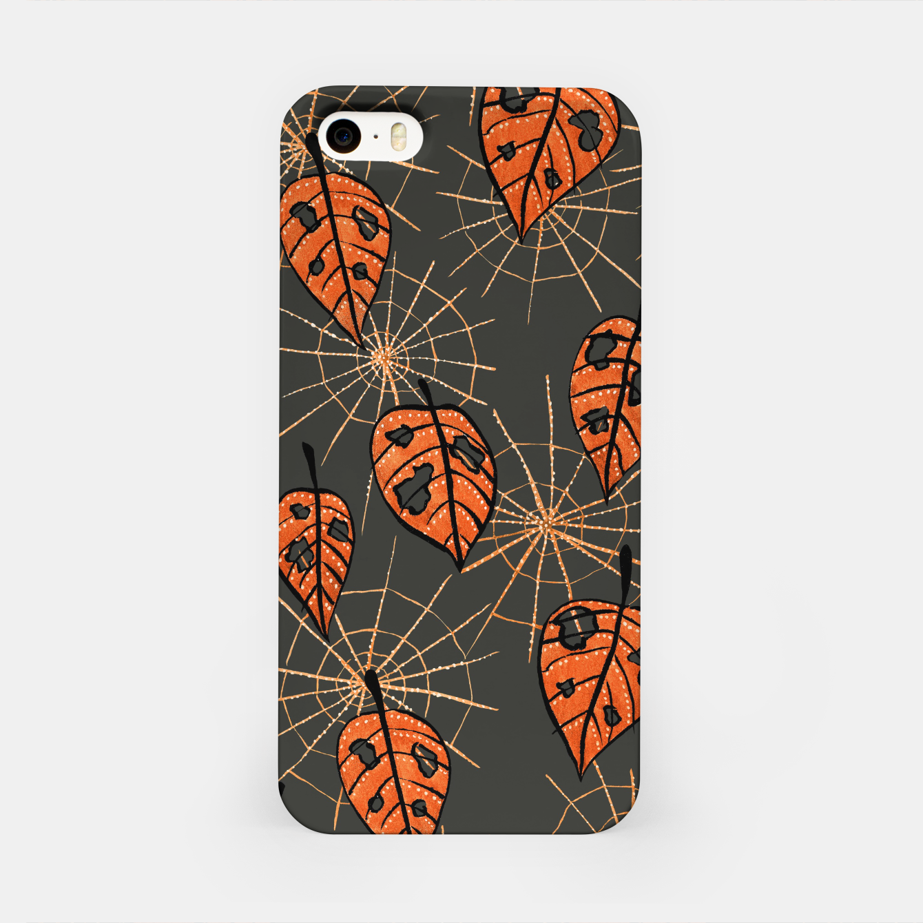 Image of Autumn Leaves With Holes And Spiderwebs iPhone Case - Live Heroes