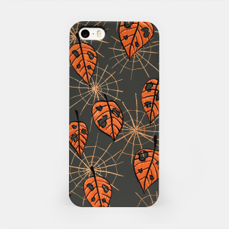 Autumn Leaves With Holes And Spiderwebs iPhone Case thumbnail image