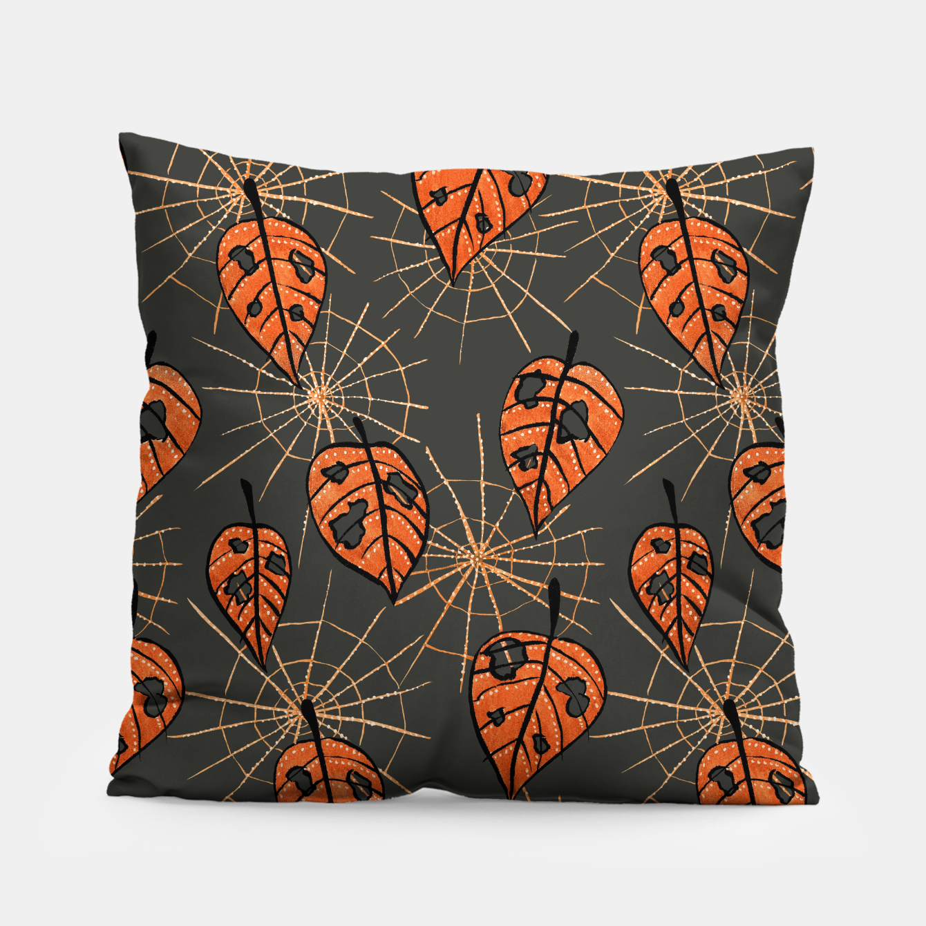 Image of Autumn Leaves With Holes And Spiderwebs Pillow - Live Heroes