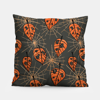 Autumn Leaves With Holes And Spiderwebs Pillow thumbnail image