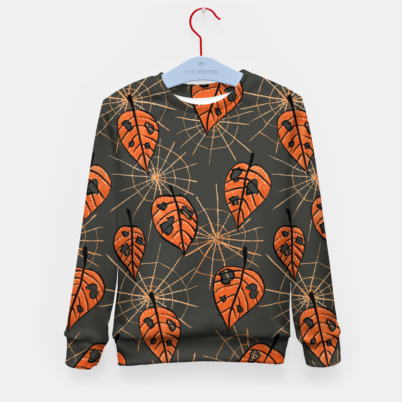 Image of Autumn Leaves With Holes And Spiderwebs Kid's Sweater - Live Heroes