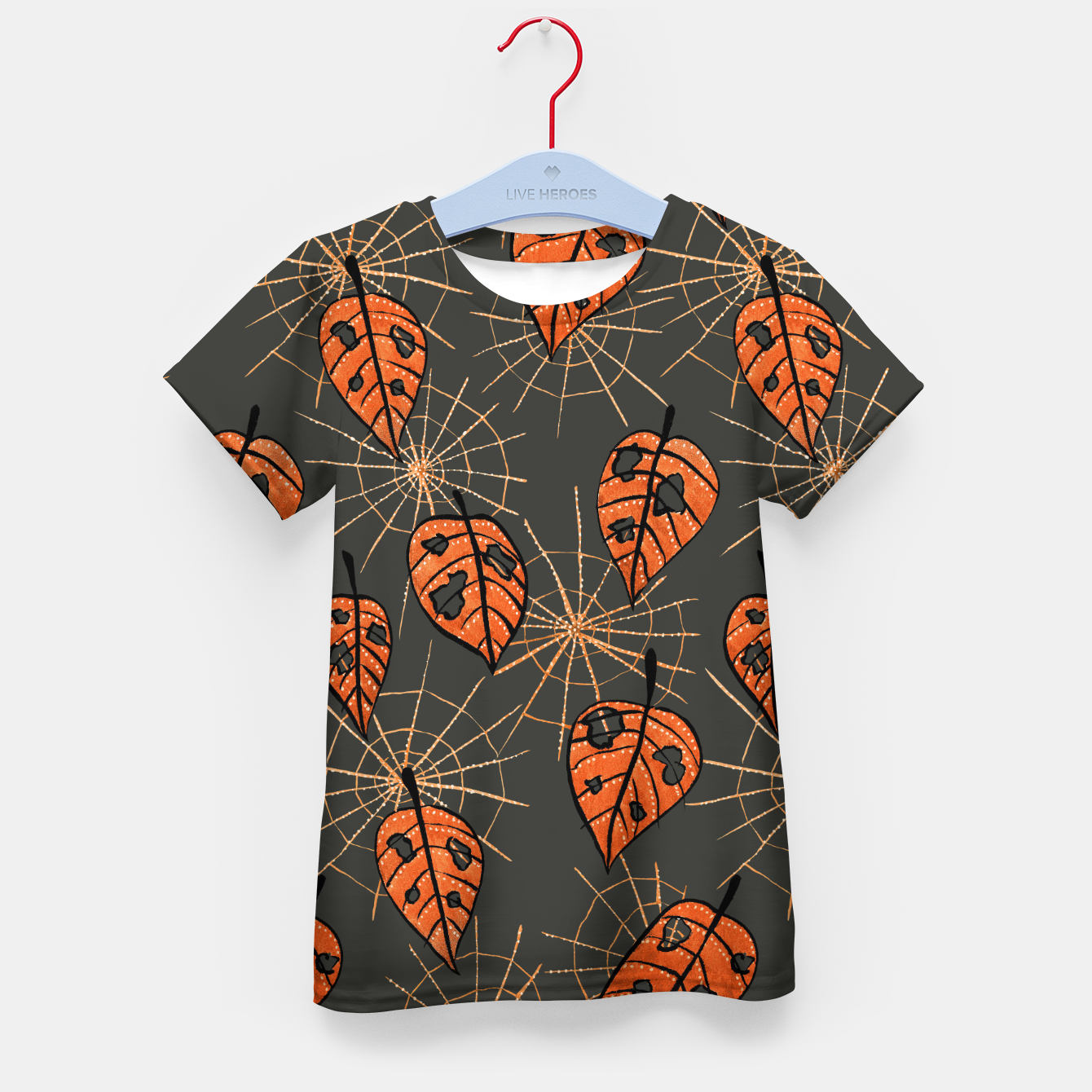 Image of Autumn Leaves With Holes And Spiderwebs Kid's T-shirt - Live Heroes