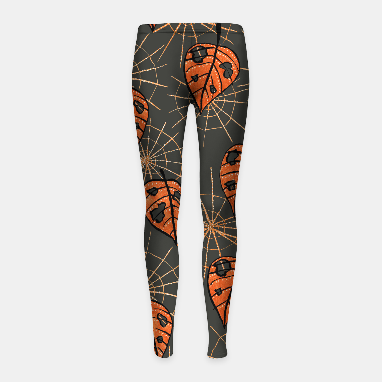Image of Autumn Leaves With Holes And Spiderwebs Girl's Leggings - Live Heroes