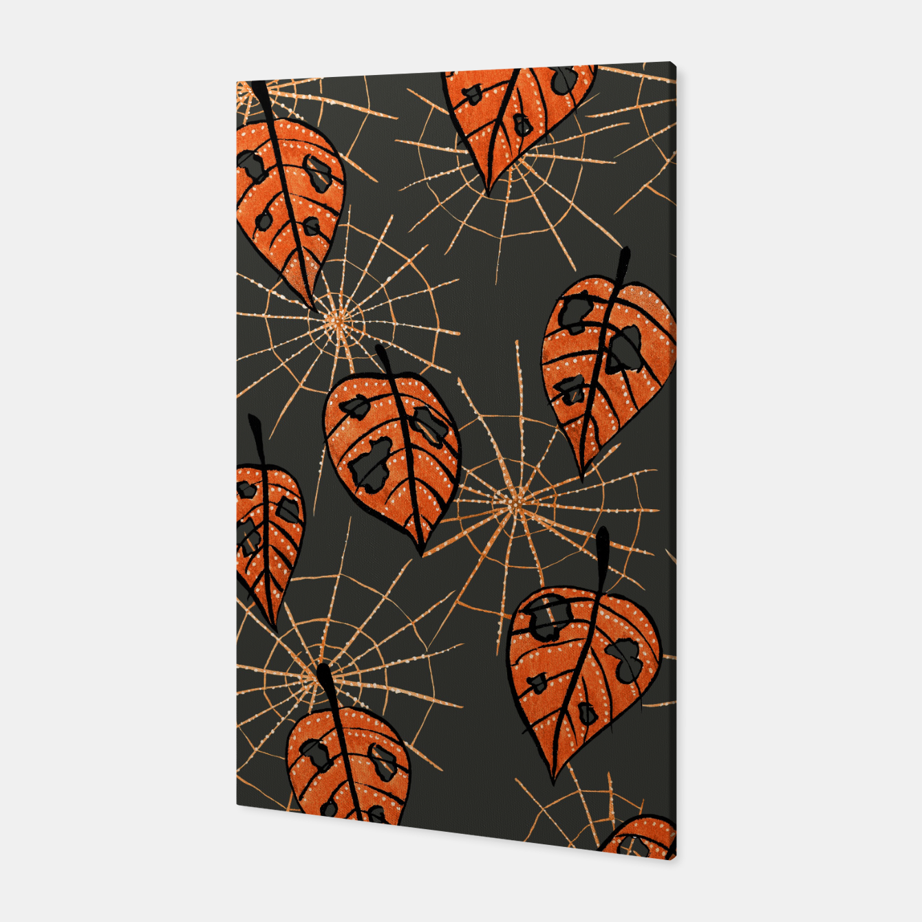 Image of Autumn Leaves With Holes And Spiderwebs Canvas - Live Heroes