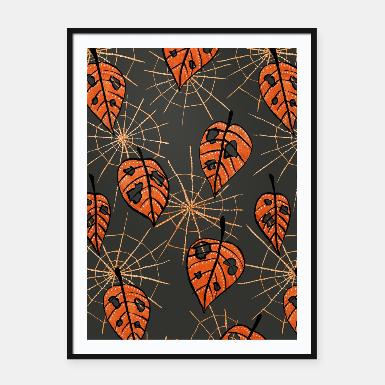 Image of Autumn Leaves With Holes And Spiderwebs Framed poster - Live Heroes
