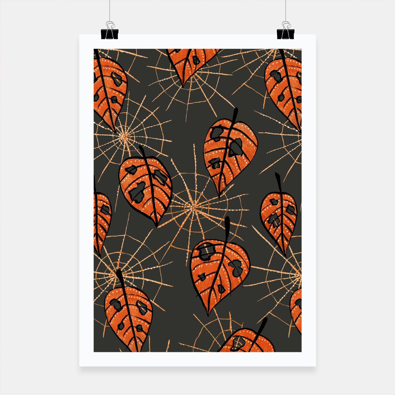 Image of Autumn Leaves With Holes And Spiderwebs Poster - Live Heroes