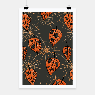 Thumbnail image of Autumn Leaves With Holes And Spiderwebs Poster, Live Heroes