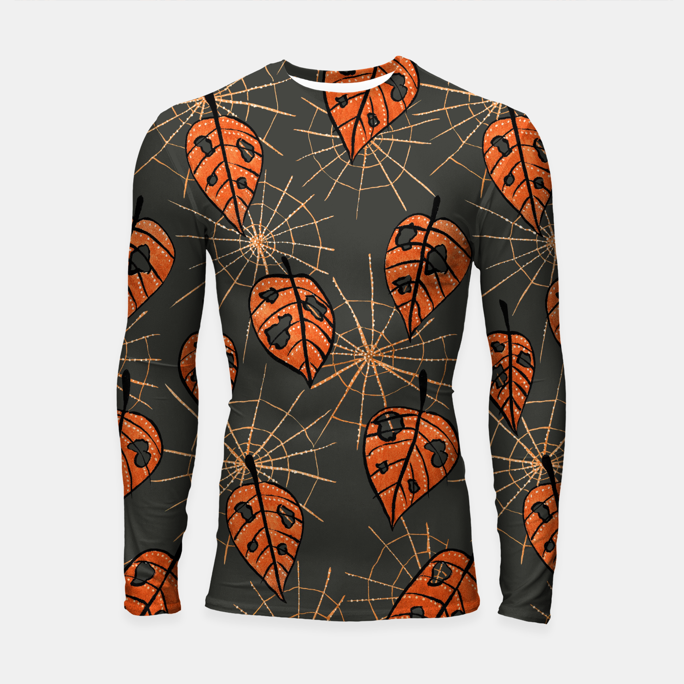 Image of Autumn Leaves With Holes And Spiderwebs Longsleeve Rashguard  - Live Heroes