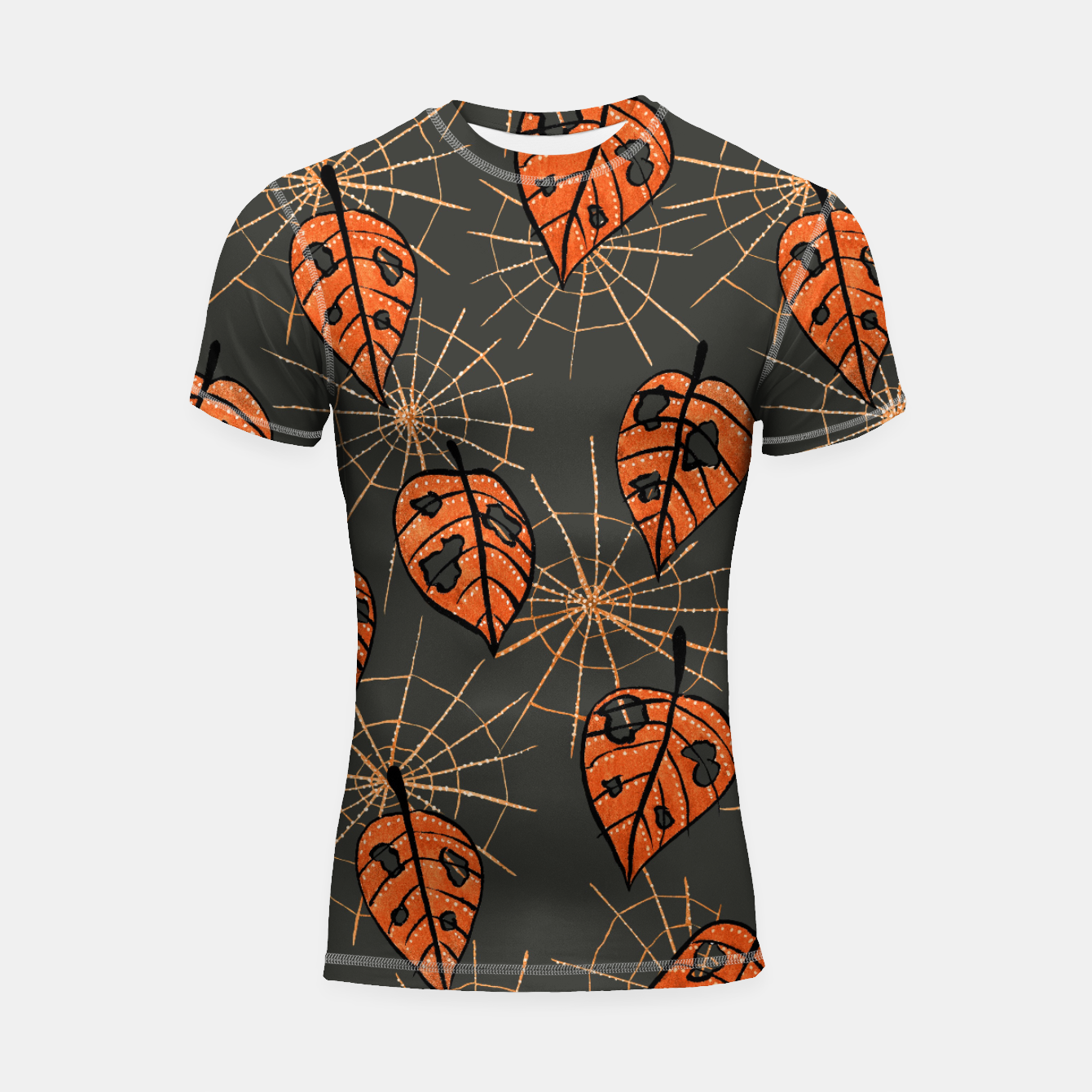 Image of Autumn Leaves With Holes And Spiderwebs Shortsleeve Rashguard - Live Heroes