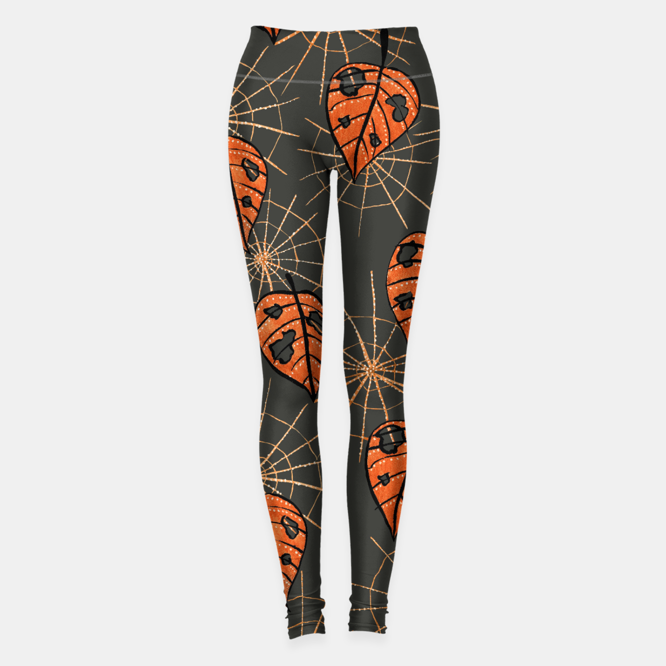 Image of Autumn Leaves With Holes And Spiderwebs Leggings - Live Heroes