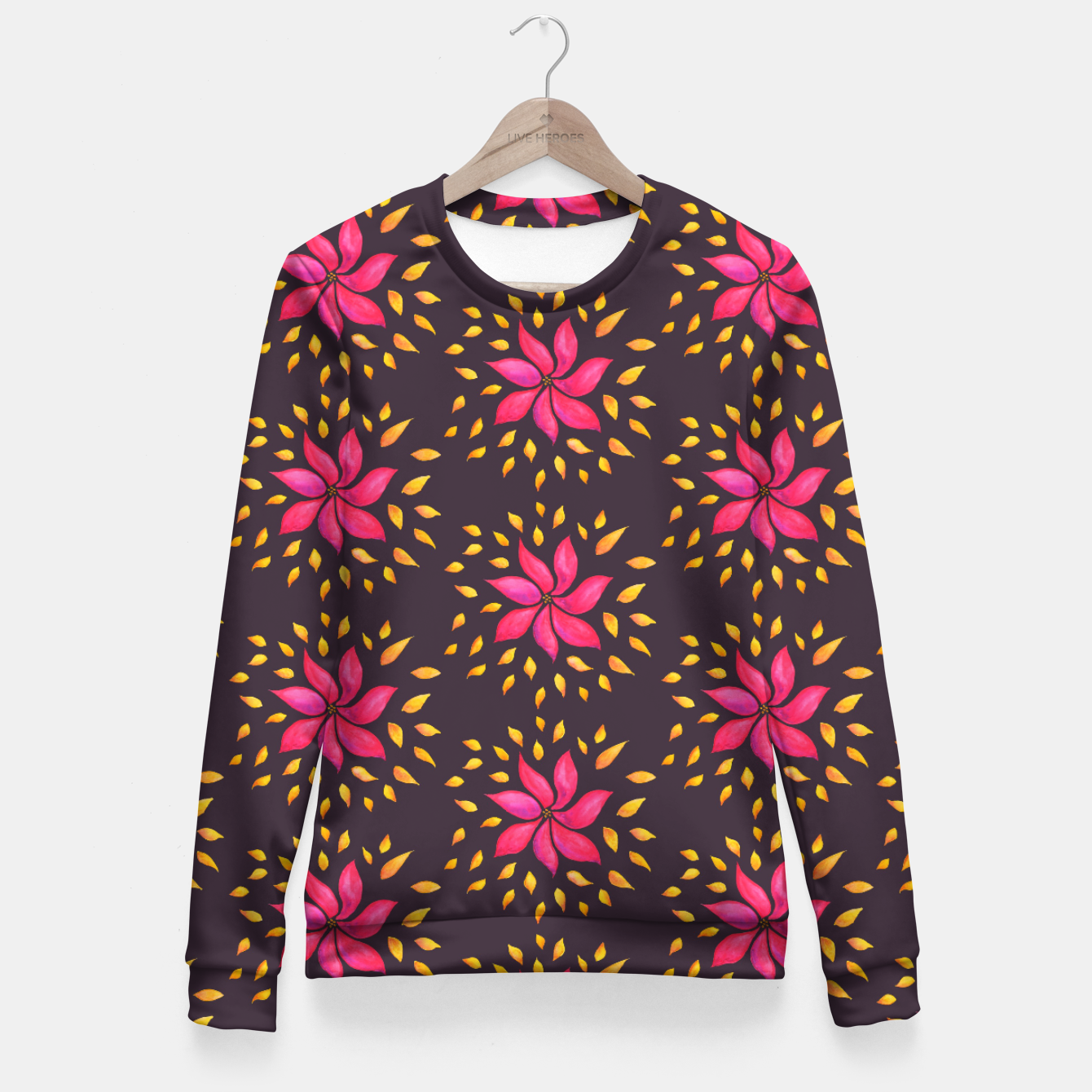 Image of  Watercolor Pink Flower Pattern Fitted Waist Sweater - Live Heroes
