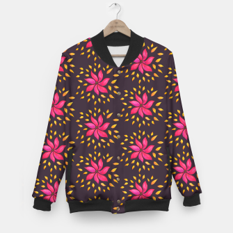 Watercolor Pink Flower Pattern Baseball Jacket thumbnail image