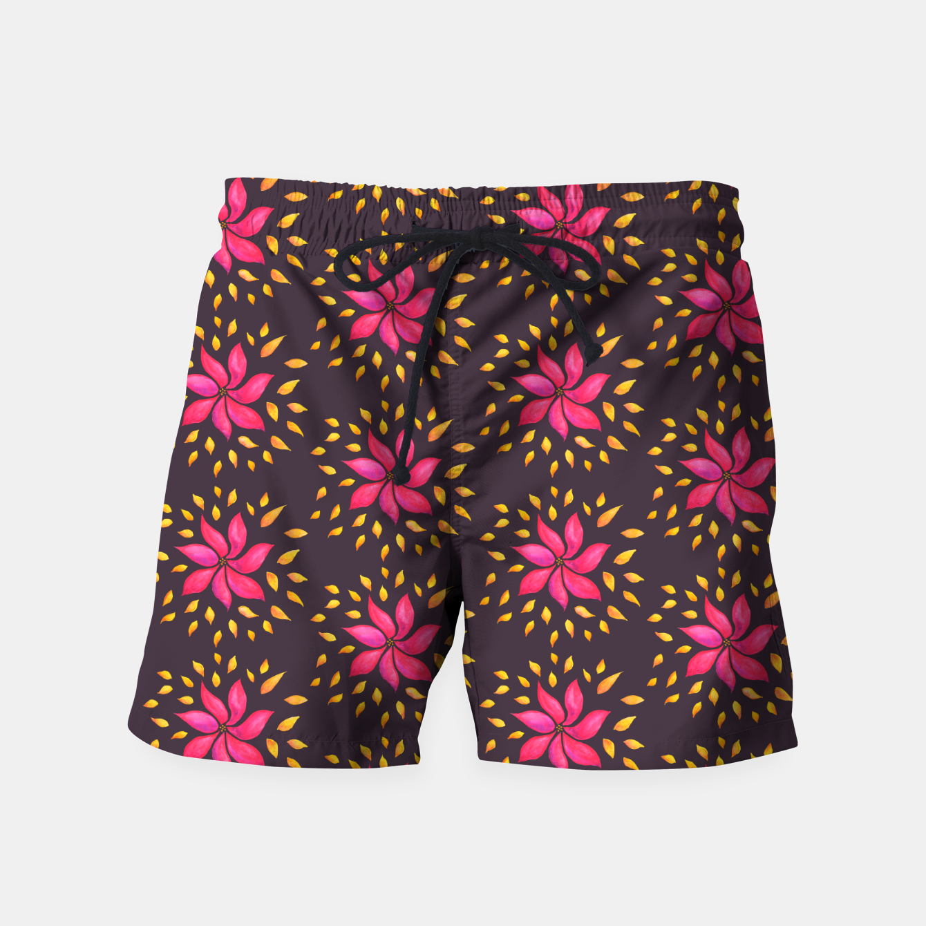 Image of  Watercolor Pink Flower Pattern Swim Shorts - Live Heroes