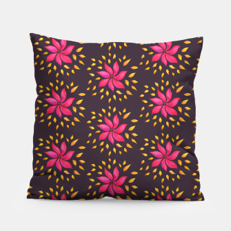 Watercolor Pink Flower Pattern Pillow thumbnail image