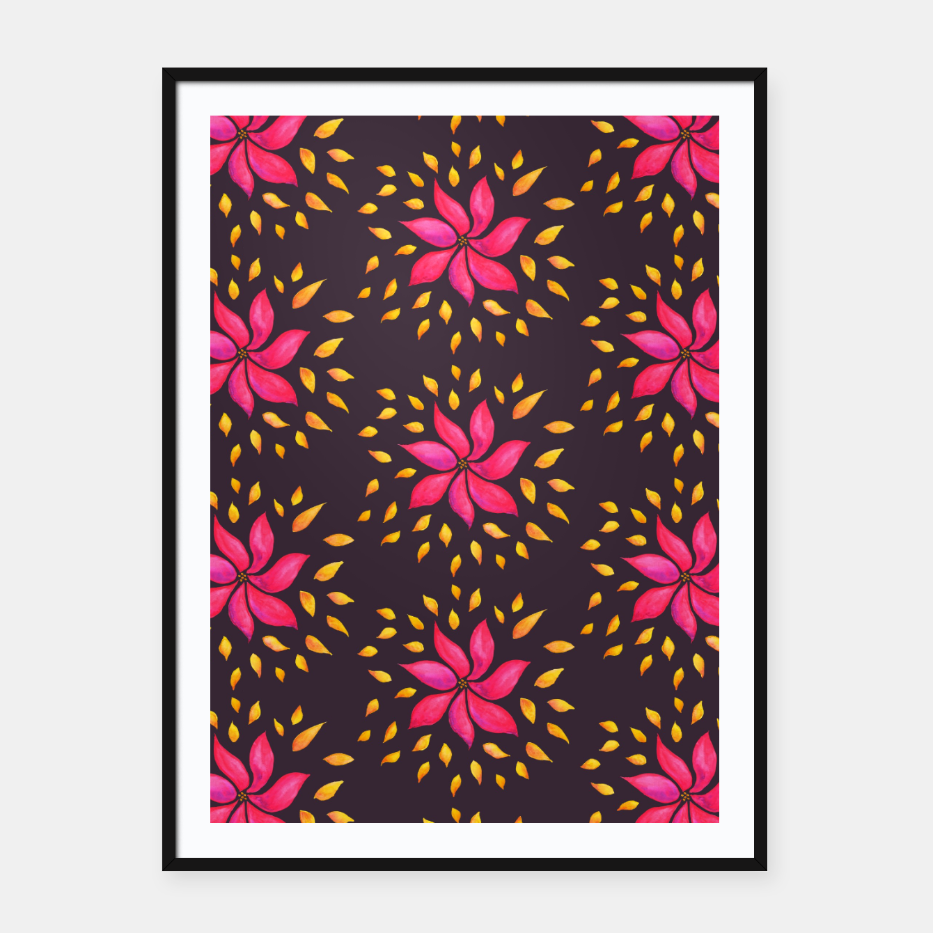 Image of  Watercolor Pink Flower Pattern Framed poster - Live Heroes