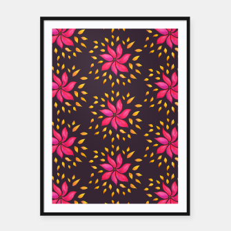 Watercolor Pink Flower Pattern Framed poster thumbnail image