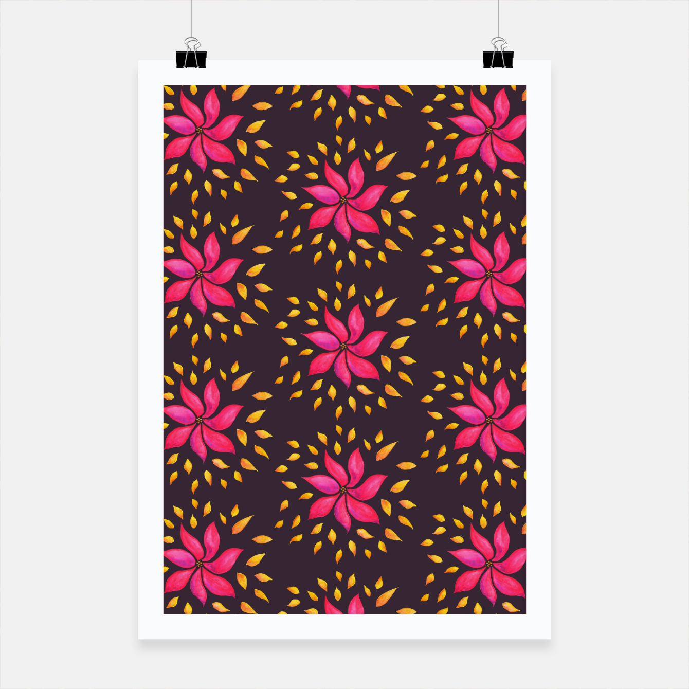 Image of  Watercolor Pink Flower Pattern Poster - Live Heroes