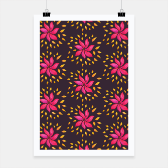 Watercolor Pink Flower Pattern Poster thumbnail image